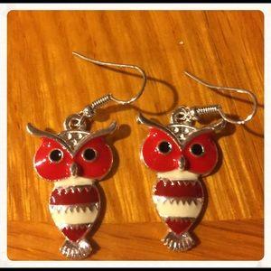 Jewelry - Cute Red n White Dangle Owl Earrings